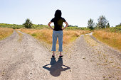 Woman at a forked road