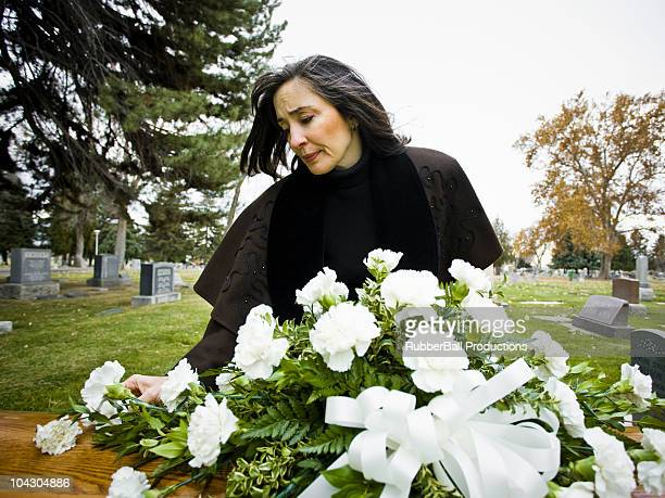 woman at a funeral