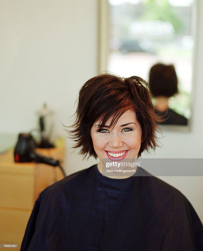 Woman at a hair salon : Stock Photo