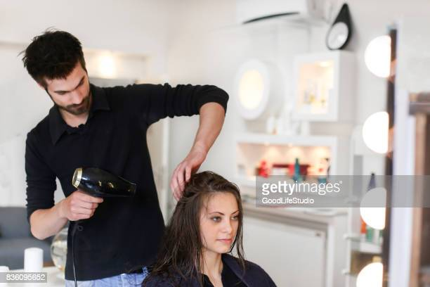 Woman at a hair salon