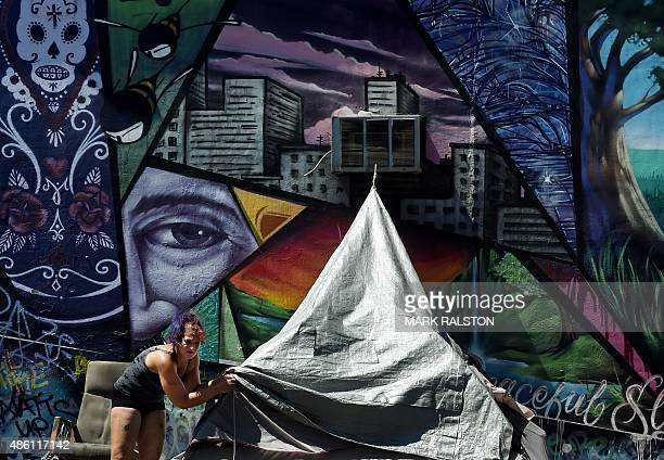 A woman at a homeless encampment in downtown Los Angeles California on August 31 2015 A Quinnipiac University National poll released August 31...