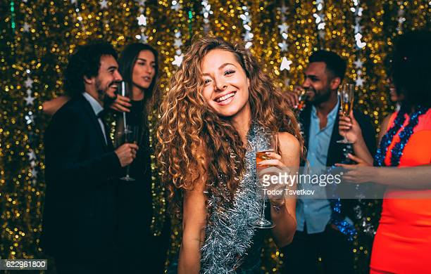 Woman At A New Year's Eve Party
