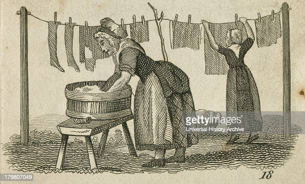 A woman at a wash tub while another in the background another pegs out washing Engraving 1825