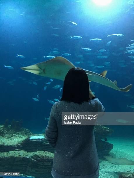 Woman at aquarium