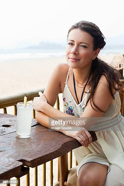 Woman at beach bar