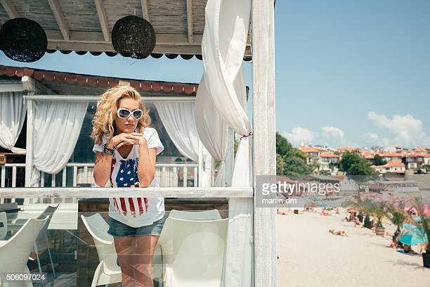 Woman at beach house in Florida