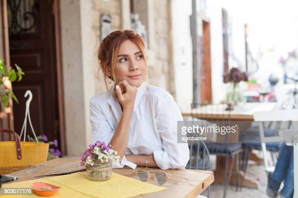 Woman at cafe in holiday