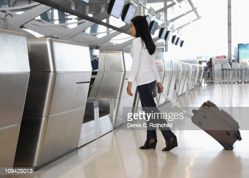 Woman at check-in counter