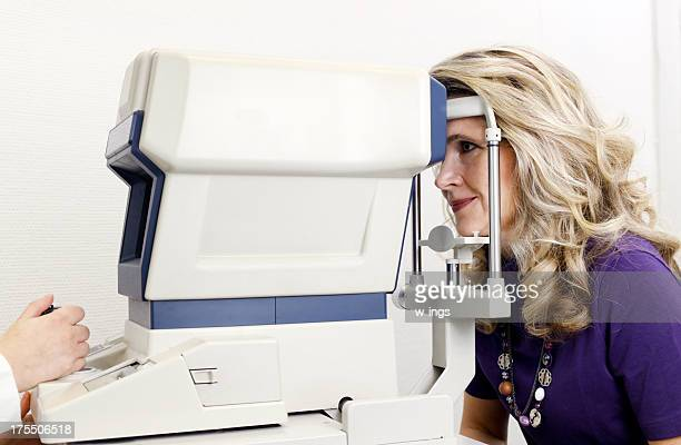 woman at eye examination