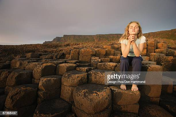 Woman at Giant's Causeway
