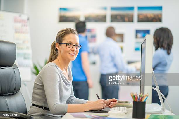 Woman at Her Desk Editing