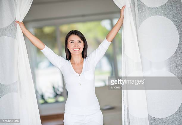 Woman at home enjoying her freedom