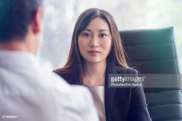 Woman at job interview