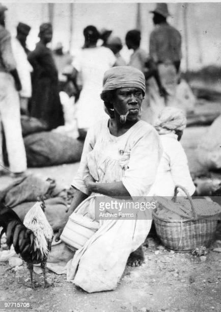 Woman at street market Kingston Jamaica