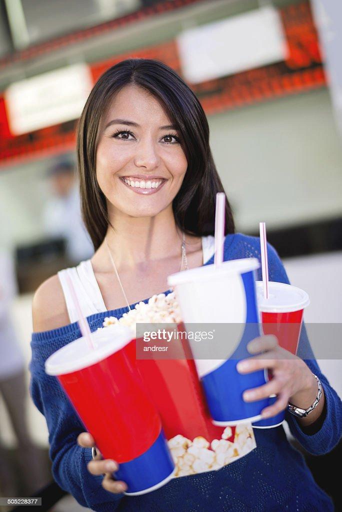 Frau im Kino : Stock-Foto