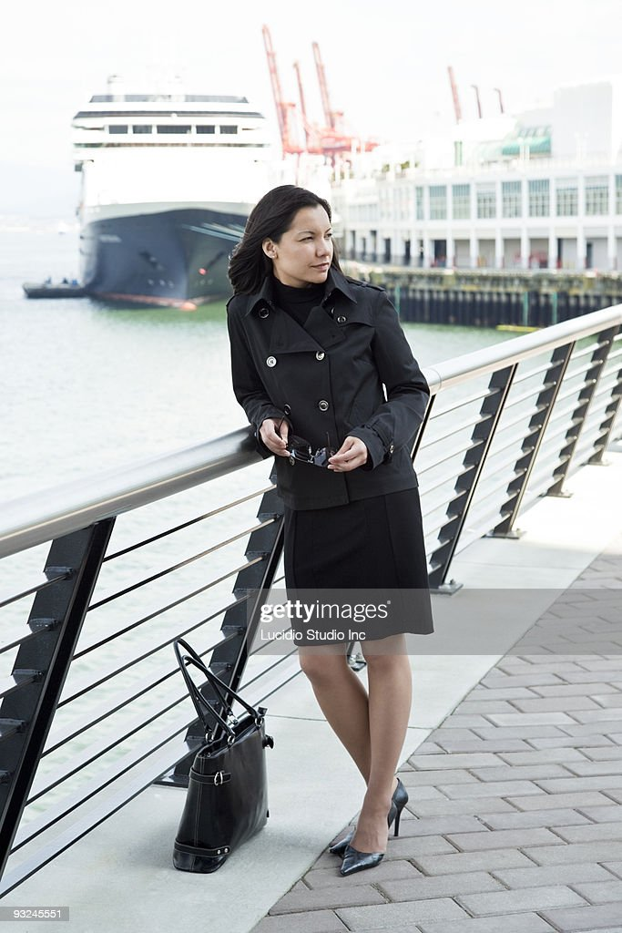 Woman at the Cruse Ship Terminal Vancouver : Stock Photo