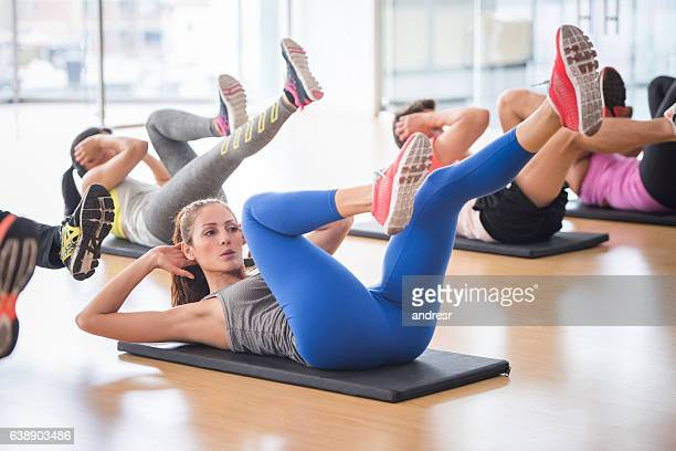 Woman at the gym in an aerobics class