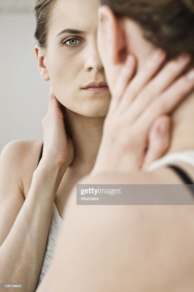 woman at the mirror : Stock Photo