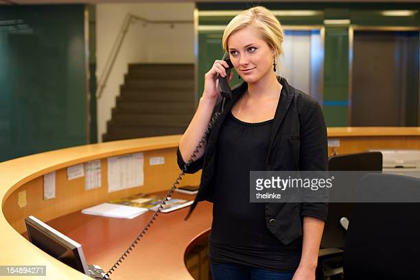 Woman at the reception desk