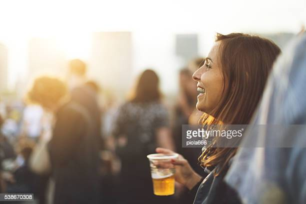 Woman at the summer music festival