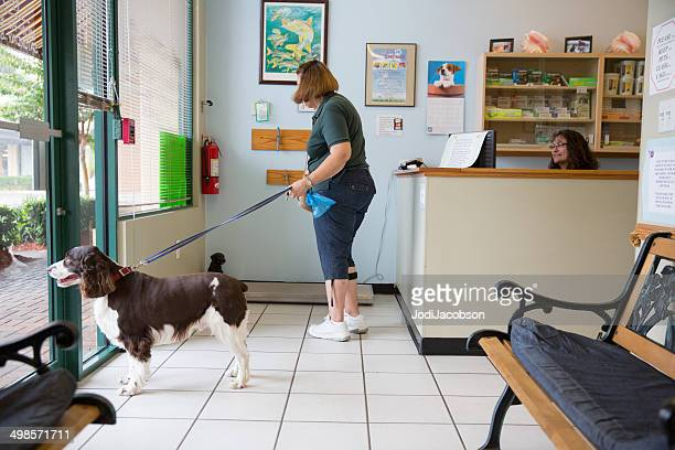 Woman at the vet with her dog
