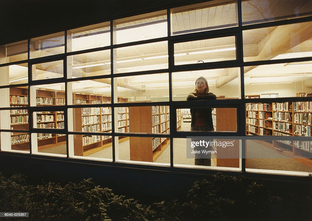 Woman at Window in Library : Stock Photo