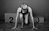 Woman athlete ready to go