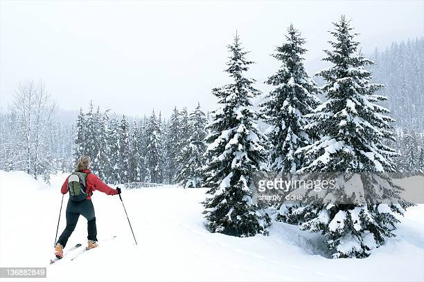 woman back country skiing