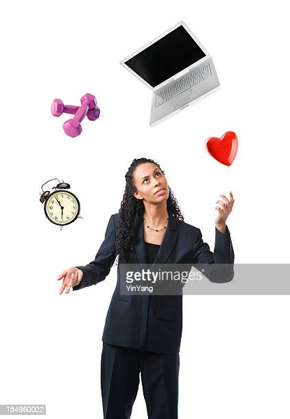 Woman Balancing Life, Work Multi-tasking Busy Lifestyle on White Background