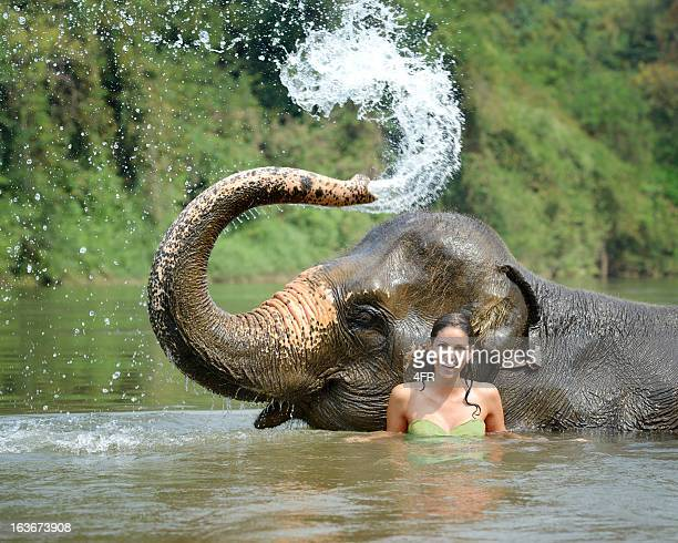 Woman bathing with an Elephant, Tropical Rain Forest