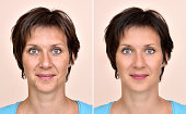 A set of two portraits of the same woman, one before and the other after applying make-up