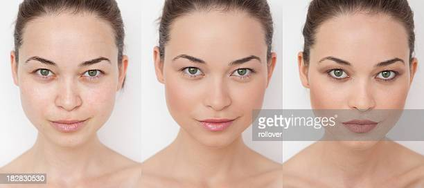 Woman before, during and after putting on make-up