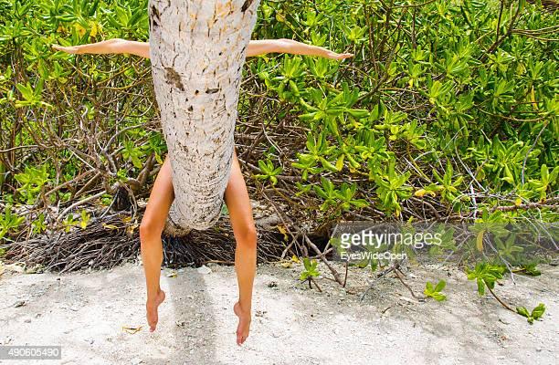 Woman behind a palmtree at white sandy Banana Beach on September 27 2015 in La Passe La Digue Seychelles