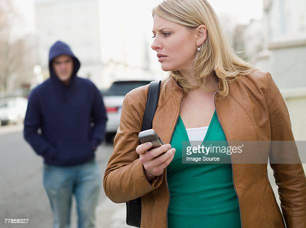 A woman being stalked