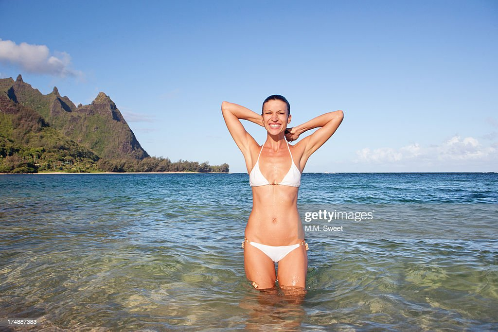 Woman Bikini Kauai Beach Stock Photo | Getty Images