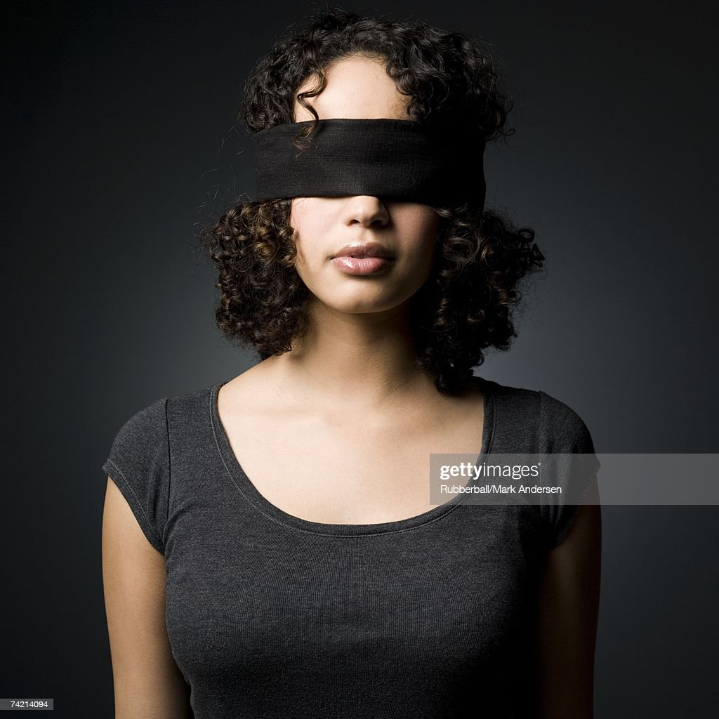 Woman blindfolded