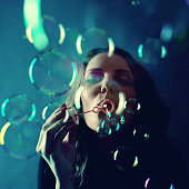 Woman Blow Bubbles