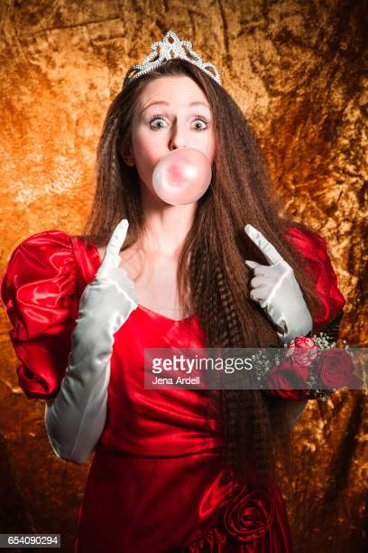 Woman Blowing Bubble Gum Bubble