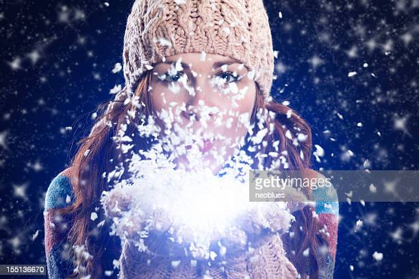 winter Frau einen snow