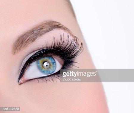 woman blue eye macro