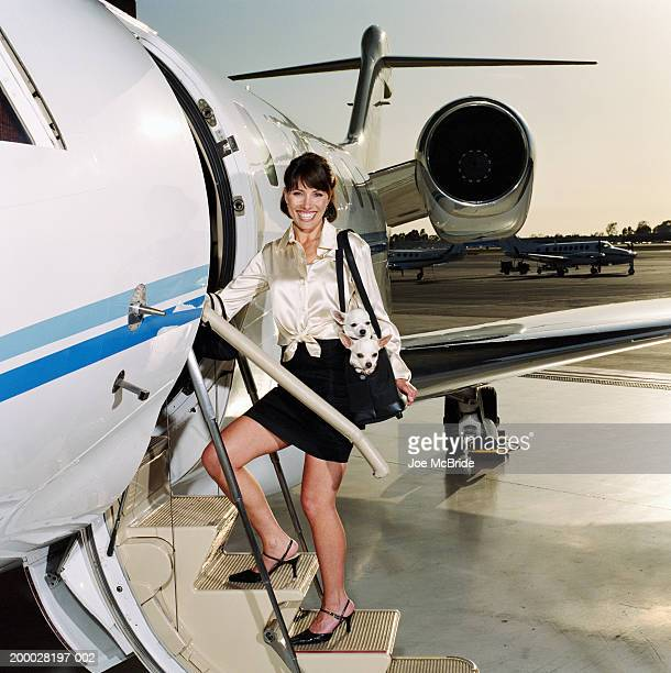 Woman boarding steps of corporate jet, carrying two Chihuahuas in bag