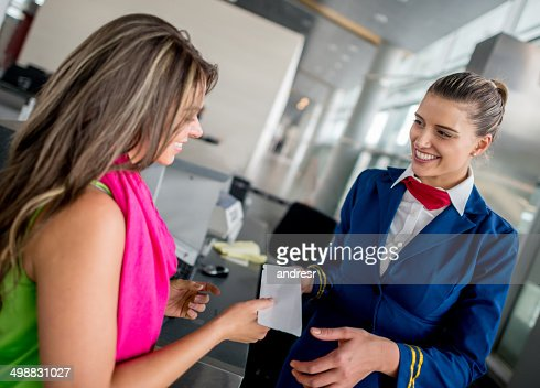 Woman boarding the plane
