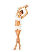 Woman Body Beauty, Model Girl Fitness Exercise in White Underwear, Sport Workout