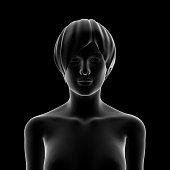 3D rendering of female (woman) body. Human upper body illustration.
