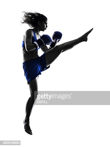woman boxer boxing kickboxing silhouette isolated : Stock Photo