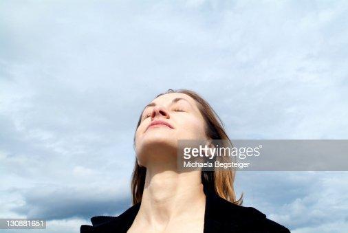 Woman breathe fresh air : Stock Photo