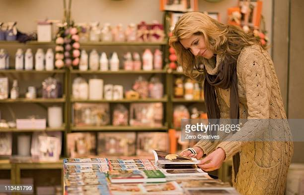 Woman browsing in books