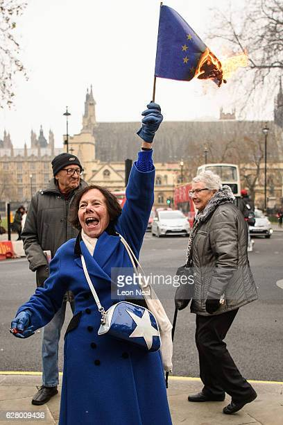 A woman burns an EU flag outside the Supreme Court on the second day of a hearing into whether Parliament's consent is required before the Brexit...