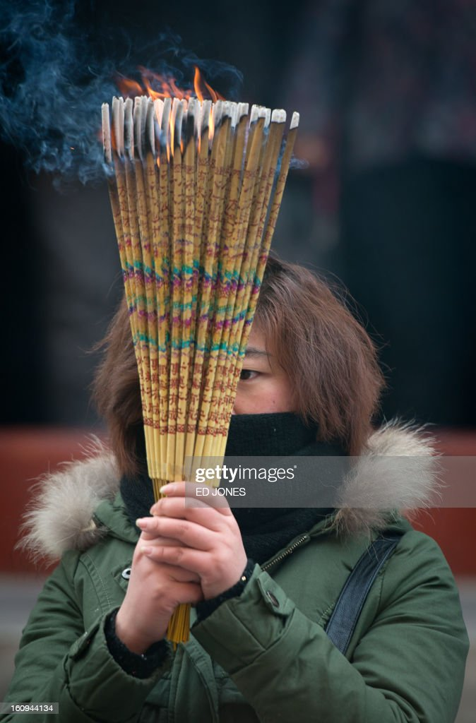 A woman burns incense while offering prayers at the Yonghegong lama temple in Beijing on February 8, 2013. China is preparing to welcome the lunar new year, or spring festival, which falls on February 10. AFP PHOTO / Ed Jones