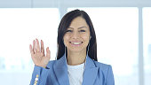 Woman Busy Online Video Chat, Waving Hand
